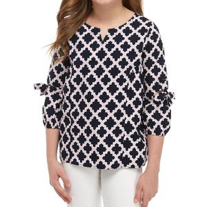 Crown & Ivy navy pink 3/4 woven top NEW 12 14 L XL
